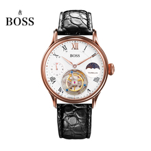 BOSS Germany watches men luxury brand limited edition automatic tourbillon movement layer alligator belt gold relogio masculino