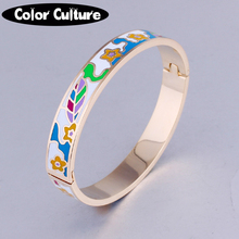 2017 Gold Bangles Latest Designs Ethnic Colorful Enamel Bangles & Bracelets For Women Wedding Jewelry(China)