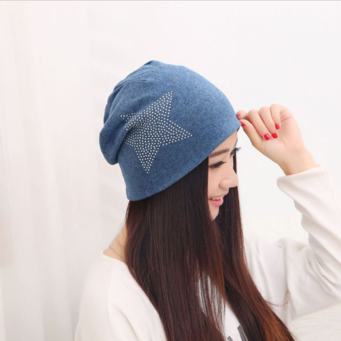 VINTAGE Style Fashion New Knit Baggy Beanie Hat with Star Female Warm Winter Hats for Girls Women Beanies Bonnet Head Cap(China)