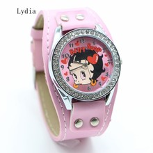 1pcs Womens Ladies Girls retail cute cartoon Betty boop with drill heart Relogios Masculino fashion wristWatches(China)
