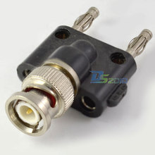 High Quality Brand New BNC Male Two Twin Banana Coaxial Adapter Plug Connector 4MM Converter New