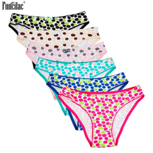 Buy FUNCILAC Women Underwear Cotton Polka Dot Print Girls Sexy Briefs Knickers Low Waist Hipster Panties Intimates Lingerie 6Pcs/Lot