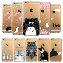 For iPhone 6 6S 5 5S 5C SE 4 4S 6Plus 6s Plus Back Phone Case Cover Head Cat Owl Rabbit Animal Hand Drawn Mobile Phone Bag