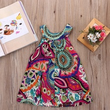 Toddle Kids Clothes Summer Girls Dress Sleeveless Floral Princess Party Dress A-Line Roupas Infantis Menina Child Dresses 3-8Y
