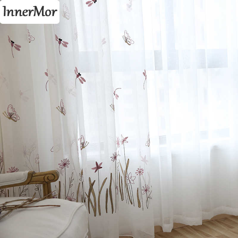 Innermor Butterfly Dragonfly girl's Curtains For living room Embroidered Cartoon curtains for kitchen bedroom sheer Customized
