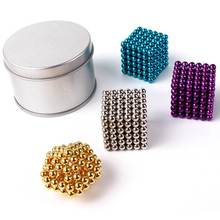 Magnetic Blocks Ndfeb 5mm 216 Magic Magnet Cube Puzzle Cubo Magico Education Toys Metal Box+Bag+Card