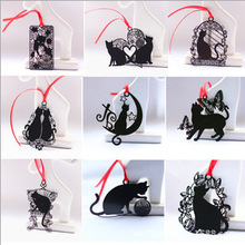 Free ship!1lot=18pc!Black cat series Japanese stainless steel metal bookmarks / creative metal bookmarks / practical bookmarks(China)