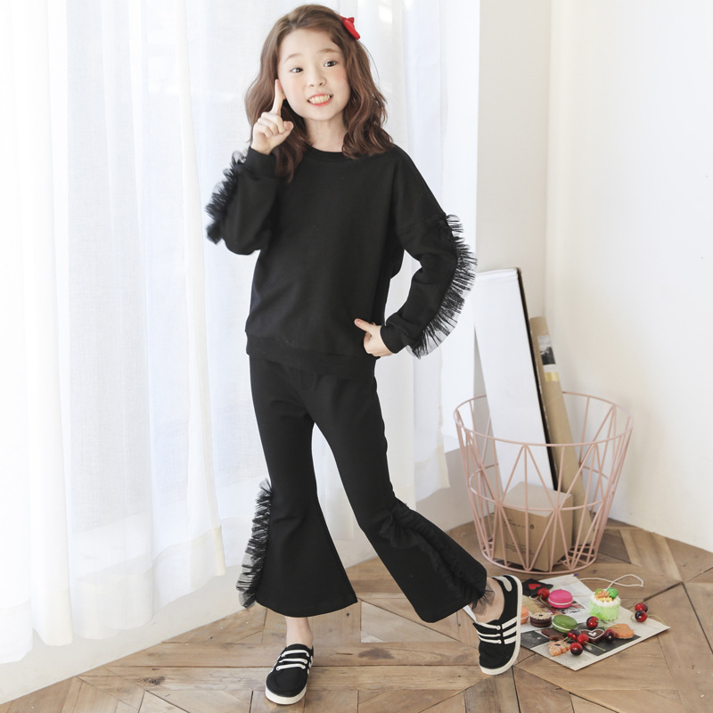 mesh patchwork girls clothing set long sleeve 8 10 12 14 6 years 2017 autumn children sets clothes for girl two piece outfits<br>