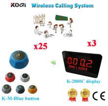 Restaurant Wireless Table Calling System Waitress Buzzer For Service Call In Restaurant With Ycall(3 display+25 call button)(China)