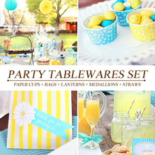 [PGP] Blue & Yellow Party Set,Cake cups,Candy bags,Straw,Paper lanterns,Tissue Medallions,for Kids Birthday Baby shower Festival