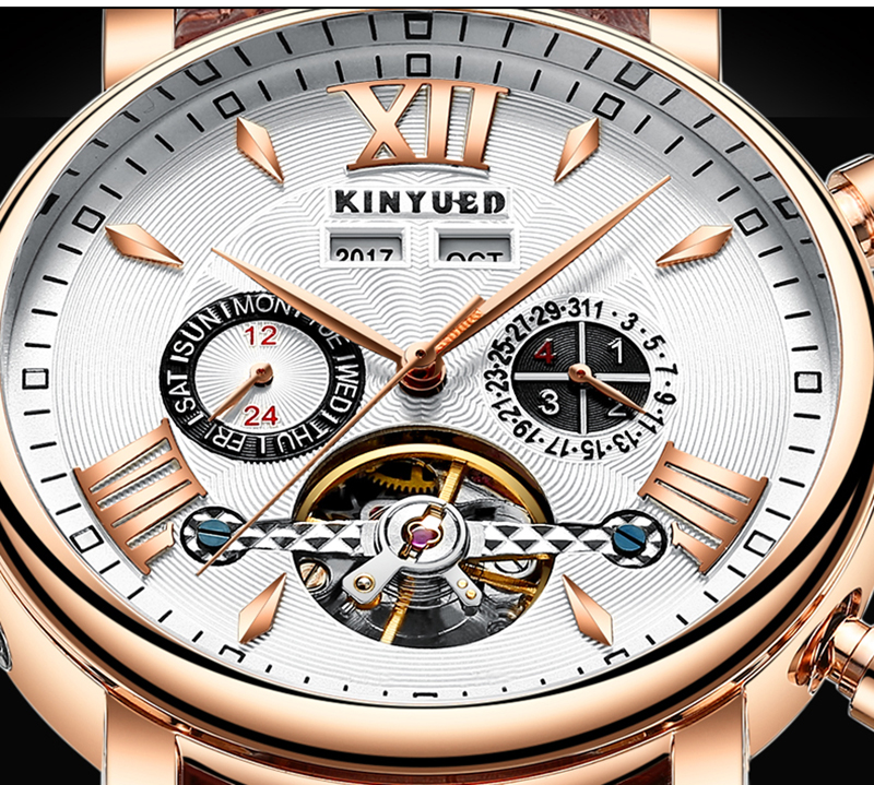 KINYUED Flying Tourbillon Watch Skeleton Men Leather Waterpoof Business Calendar Mens Mechanical Watches Automatic montre homme 4