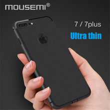 MOUSEMI For iPhone 7 Case Silicone Ultra Slim Soft TPU Matte Black Coque For iPhone 7 Plus Case 360 Protection Cover Phone Cases(China)