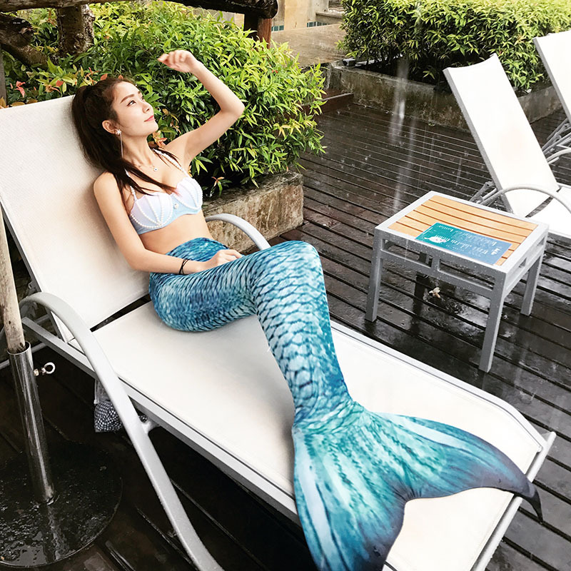 2020 Mermaid Tail for Swimming With Monofin Mermaid Swimsuit Adult Female Tail Swimsuit Can Swim Sexy Dress Pearl Bra For Women title=