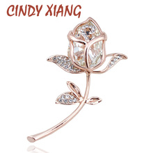 CINDY XIANG Crystal Rose Brooches for Women Elegant Brooches & Pins 4 Colors Available Cute Fashion Jewelry Rhinestone Brooch