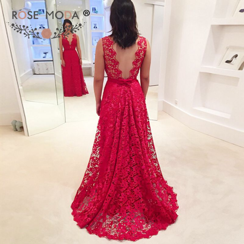 Rose Moda V Neck Red Lace Evening Dress with Sash Backless Formal Party Dress 2019