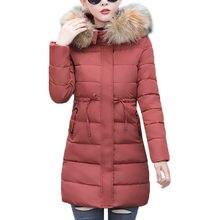 2019 De Mode femmes d hiver à capuchon chaud manteau Rouge couleur coton  rembourré veste femelle longue parka femmes ouate jaque. 067702e72914