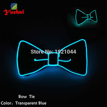 Crazy! New Style Sound Activated Flashing Glowing EL wire BOWTIES for Men Wedding Party decorative Butterfly Anchor Bow Ties