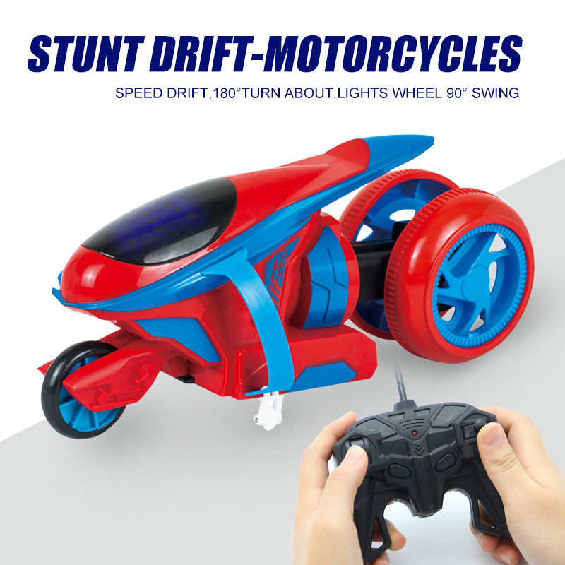 4CH Electric RC Motorcycle Flashing Stunt Drift Car High Speed RC Drift Cars Stunt Racing Motorcycels Model Cars With Controller(China)