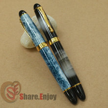 2 PCS JINHAO X450 BLUE MARBLE VS WHITE CLOUDY ROLLER BALL PEN GOLDEN TRIM JINHAO 450(China)