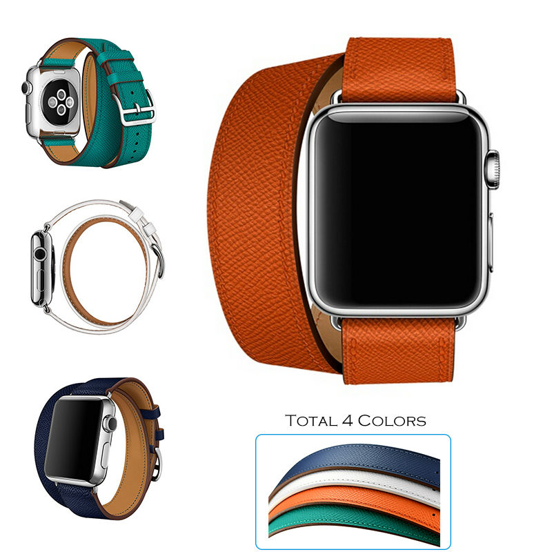 URVOI Double Tour wraps band for apple watch series 2 strap for iwatch belt for Hermes watch high quality genuine Leather loop<br><br>Aliexpress