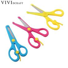 Vividcraft Children Used Safe Stationery Scissors Paper 1pcs Cute Sheet Metal Nibblers Tesoura with Steel Sheet Scrapbook(China)