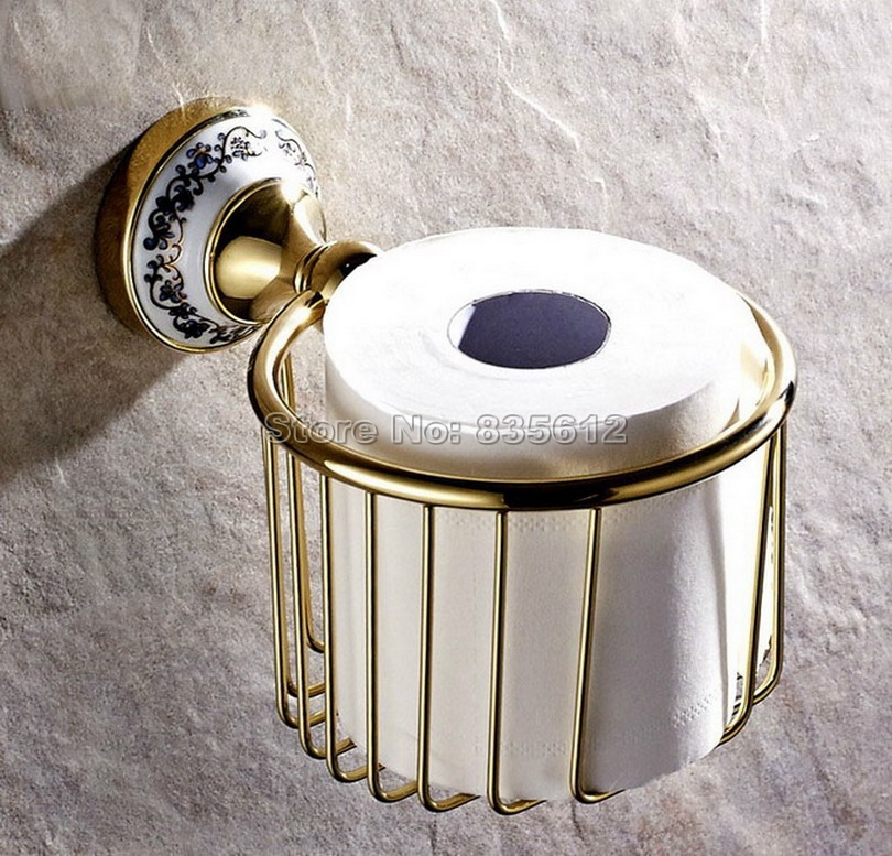 Luxury Gold Color Brass Wall Mounted Bathroom Toilet Paper Roll Holder Basket Wba257<br>