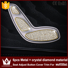 Metal + crystal diamond material Seat Adjust Button Cover Trim Mercedes W205 GLC Accessories 2015 2016 - Cheetah auto LED lights shop store