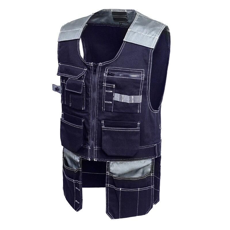 Bauskydd Men Work Vest Safety Clothing Multi-pockets Tool Vest Multi functionnal Photographer Carpener Mechanic Workwear Tops <br>