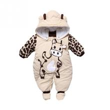 2016 New style baby rompers Cartoon boy girls thick jumpsuit Warm Winter infant garment Wholesale and Retail