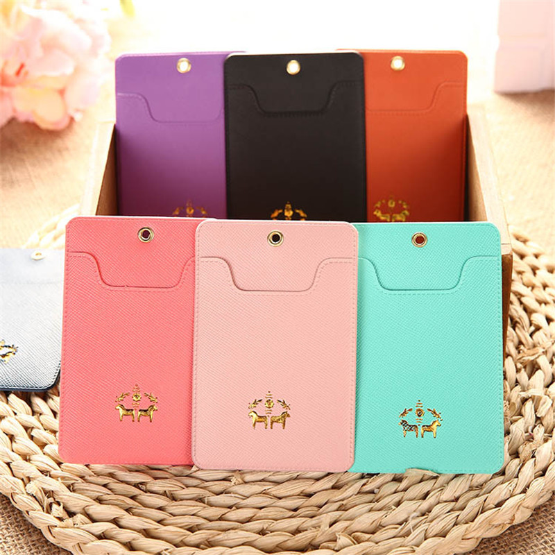 Portable Credit Id PU Leather Card Holder Case Set Kids Cortex Horse Candy Color Bank Ladies Cards Clip Cardholder for Girls(China)