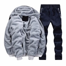 Fleece Hoodies Men 2017 Winter Brand Warm Hooded Fur Jacket Male 3D Hoodies Sweatshirts Men Coat+Pant 2 PCS Cardigan Tracksuit
