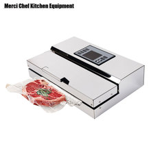 Food Machine 220V Household Commercial Food Vacuum Sealer Packaging Machine Film Sealer Vacuum Packer Stainless Steel Body(China)