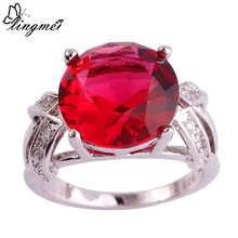 lingmei Wholesale Charming Round Cut Pink Tourmaline & White CZ  Silver Color Ring Size  6 7 8 9 10 11 12 13 PRECIOUS JEWELRY