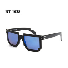 Vintage pixel sunglasses for women and men mirror square gear frame sun glasses RT1028(China)