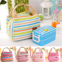 Cute Fashion Insulated Thermal Cooler Striped Lunch Bag High Quality Oxford cloth+ Tin foil Travel Bag Picnic Carry Tote Case