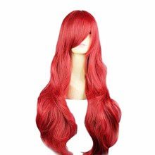 Mcoser Long Wavy Red Wigs Cosplay Peluca Hair Korean Hairnet Kanekalon Synthetic hair free shipping KW-016C
