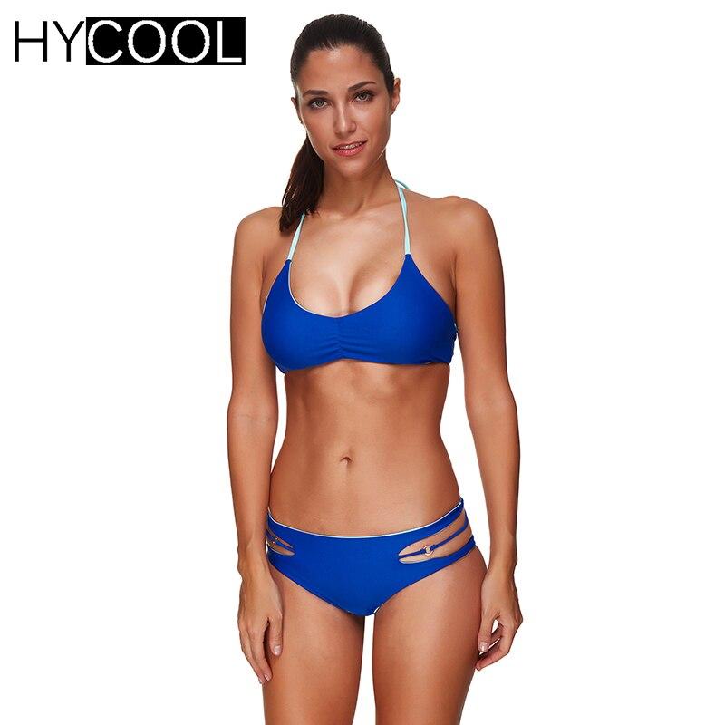 HYCOOL NEW Sexy Bikini Set Swimsuit 2017 Women swimwear Bathing Suit Cut Out Bandage Comfortable Halter Women Swimwear female<br>