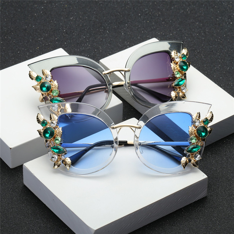 Sport Sunglasses Cycling Eyewear Womens Fashion Artificial Diamond Cat Ear Metal Frame Brand Classic Sunglasses #2J06#F (4) -