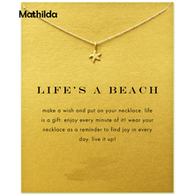 New Arrival Life's A Beach Starfish Necklace Women Jewelery Joias Statement Necklace Gold Color Short Necklace With Card T0310(China)