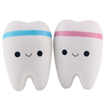 11cm Novelty Toy Squishy Tooth Slow Rising Kawaii Soft Squeeze Cute Cell Phone Strap Toys Kids Baby Gift Random Color(China)