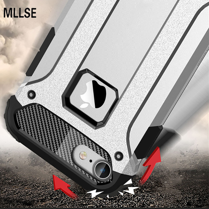 MLLSE Strong Hybrid Tough Shockproof Armor Phone Back Case for iPhone Xr 5S SE 6S Plus 8 7 Xs MAX Hard Rugged Impact Cover Funda(China)