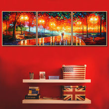 Artist Sales hand painted oil painting on canvas golden season Street lamps 3 pic wall arts home decoration(China)