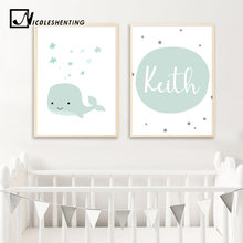 Custom Name Poster Baby Nursery Wall Art Canvas Painting Cartoon Whale Print Nordic Kids Decoration Picture Boys Bedroom Decor