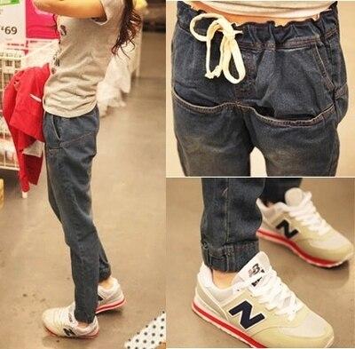 Spring Autumn Womens Jeans Long  Herem Vintage Fashion Demin Pants Drawstring Trousers Size 26-33 Одежда и ак�е��уары<br><br><br>Aliexpress