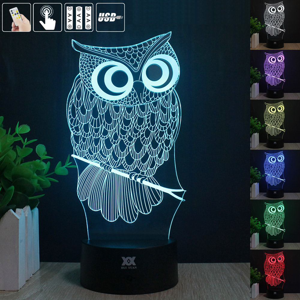 European shipping OWL 3D Night Light RGB Changeable Mood Lamp LED Light DC 5V USB Decorative Table Lamp Get  free remote control<br><br>Aliexpress