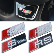 Car Styling RS Sline S line Steering Wheel Car Sticker 3D Aluminium Alloy Steering Wheel Badge Emblem Audi A4 A4L A8 A8L TT