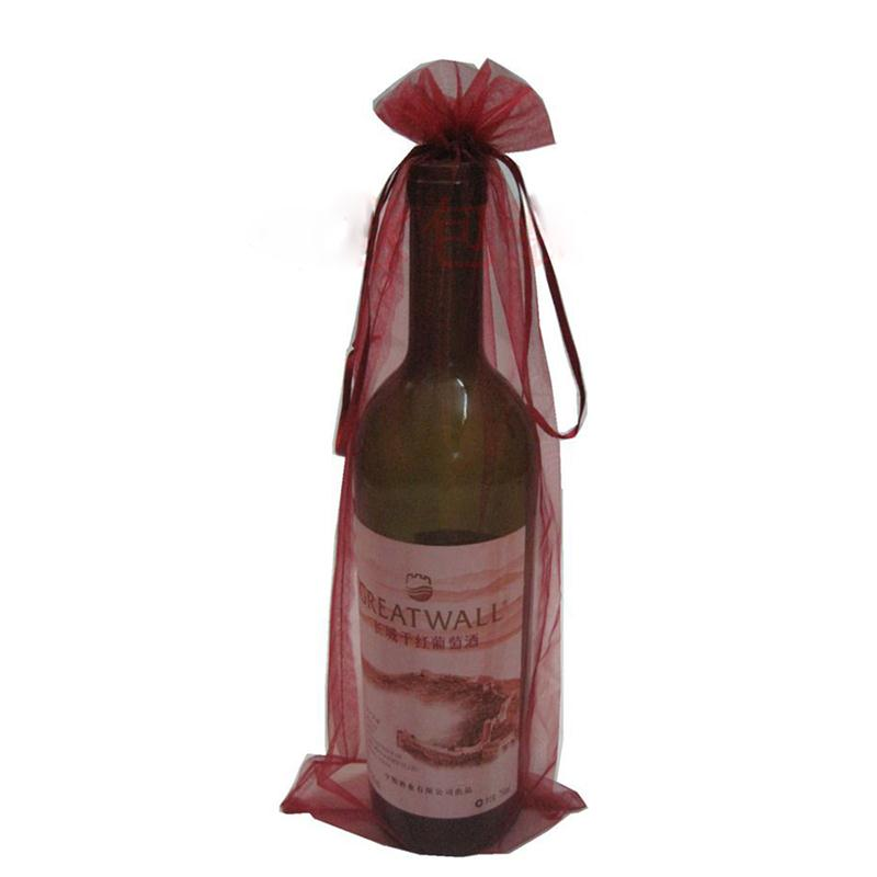 10pcs Sheer Organza Wine Bottle Cover Wrap Gift Bags Wedding Favors And Gifts Bag Cosmetics Jewelry Receive Bag Party Supplier(China (Mainland))