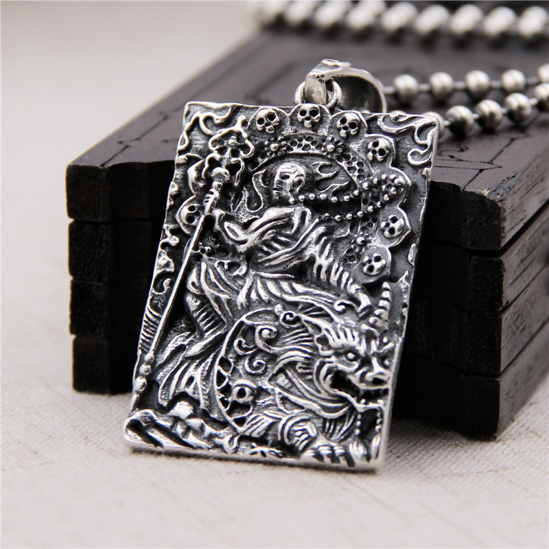 S925 Sterling Silver Retro Thai Silver Pendant Hell Is Not Empty Vow To Become A Buddha To King Hanging Tag Pendant