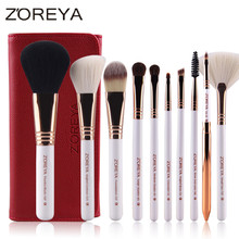 ZOREYA Brand 10pcs Makeup Brushes Rose Gold Cosmetic Brush Foundation Eyeshadow Eyeliner Lip Brush Kits With PU Leather Bag