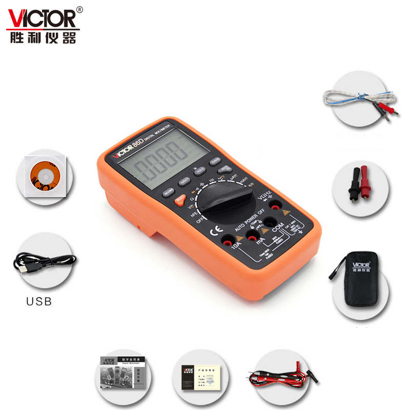 Newest Victor 3 5/6 Digital Multimeter Meter VC86D &amp; usb to computer win7/8/10 &amp; Loop detection<br>